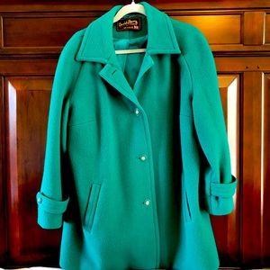 David Barry green wool winter coat, large